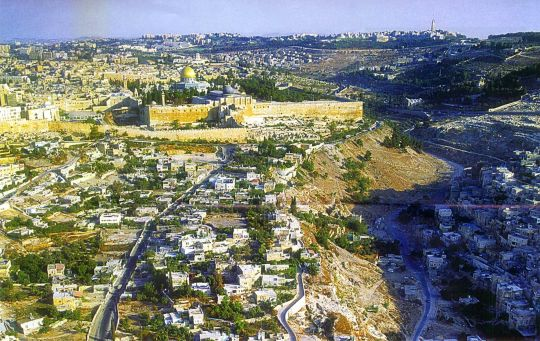 Jerusalem from the south with Temple Mount centre, Mt of Olives east (right), Zion south, and Calvary west (left)