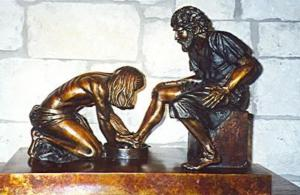 Washing the disciples' feet - Max Griener sculpture